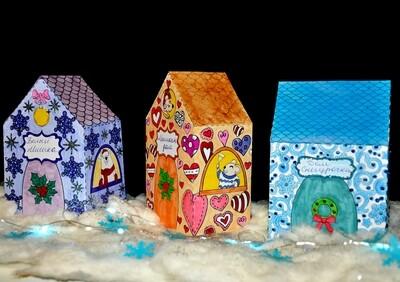 Волшебная новогодняя деревня: 3D-шаблоны домиков