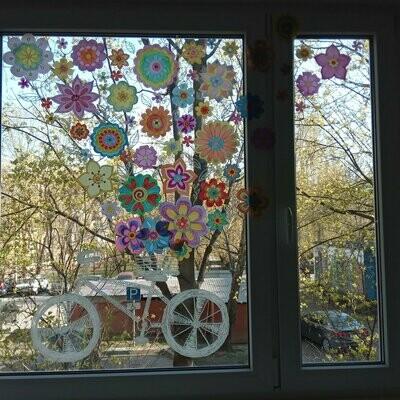 """Декор для окна """"Цветочный велосипед"""""""