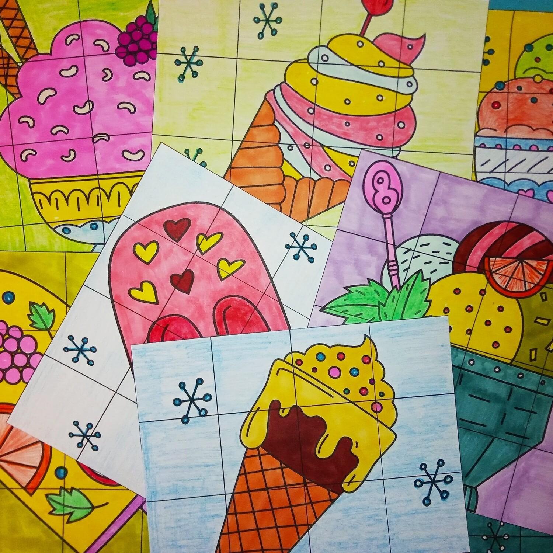 """Секретные картинки """"Мороженое""""_Редактируемые шаблоны"""