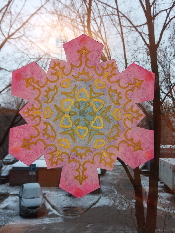 Снежинки-раскраски для декора класса