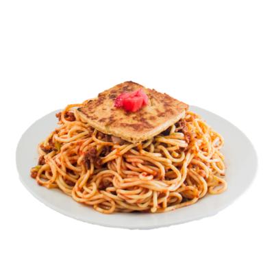 Spaghetti a la boloñesa con tofu asado