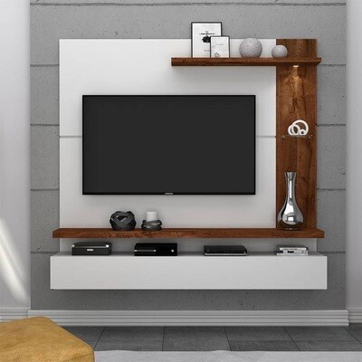TV Unit Wall Mounted with Back Panel and Shelfs