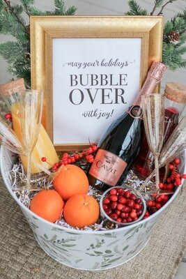Christmas Mimosas in a Basket