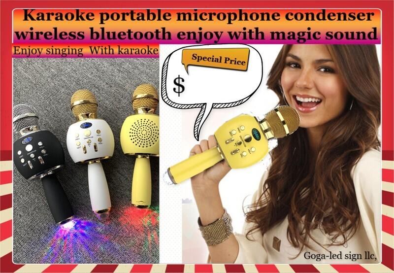 Wireless Bluetooth Microphone LED Karaoke KTV Party Handheld Mic Speaker Player
