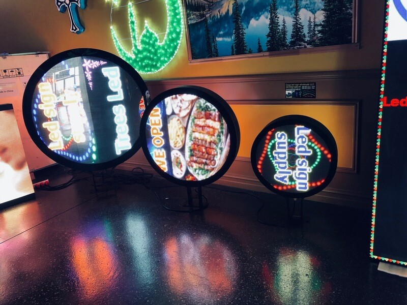 """Led sign p6 round Double-sidede outside size 49 """""""