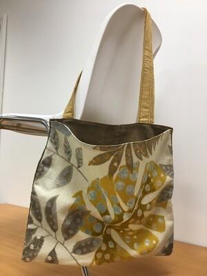 Bright Leaf Pattern and Denim Tote Bag for Living