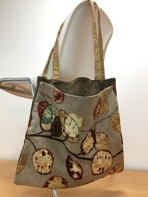Muted Leaf Pattern and Denim Tote Bag for Living