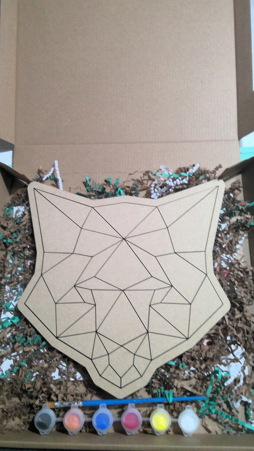 geometric fox paint your own puzzle