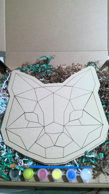 Geometric Cat paint your own puzzle