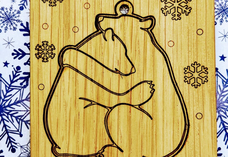 Bear hug greeting card and ornament