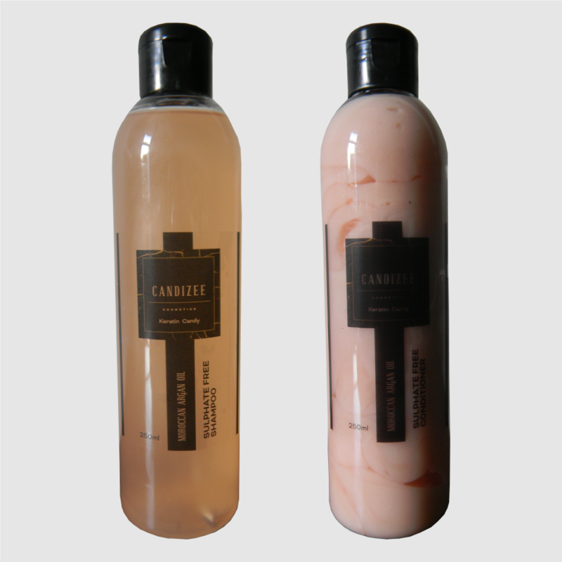 Candizee - 250ml Moroccan Argan Oil Sulphate Free Shampoo & Conditioner Aftercare Kit