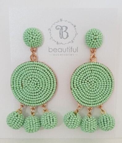 Pom Pom Earrings Mint