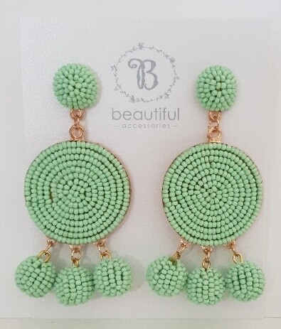 Pom Pom Earrings Mint