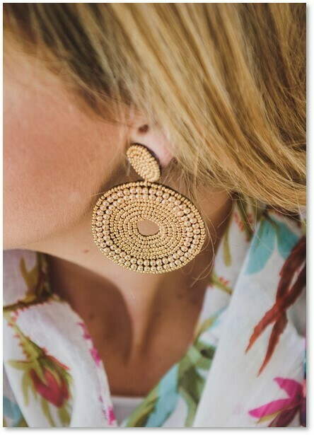 Beaded Circle (L) Earrings Gold