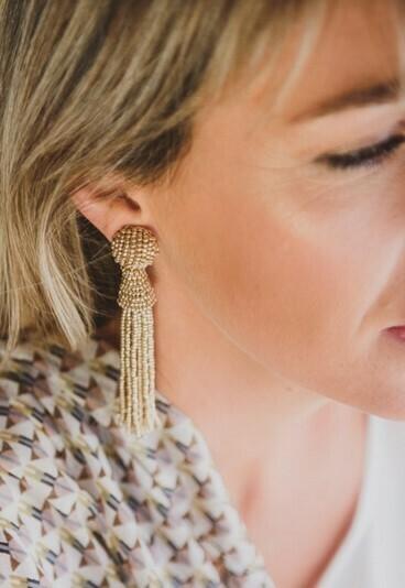 Tassel Bead Earrings Gold