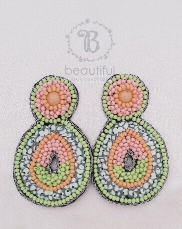 Beach Earrings Pink/Lime