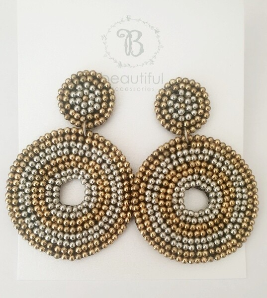 Beaded Circle (M) Earrings Silver/Gold
