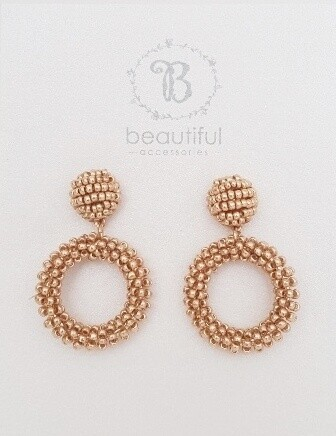 Beaded open circle (S) Earrings Gold