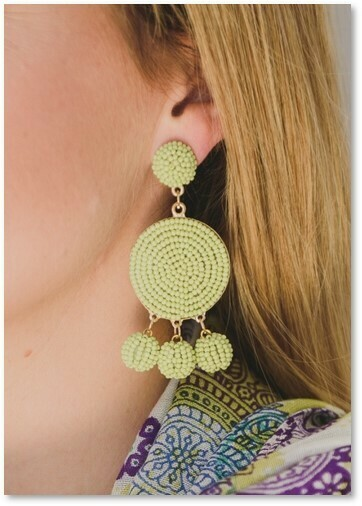 Pom Pom Earrings Lime