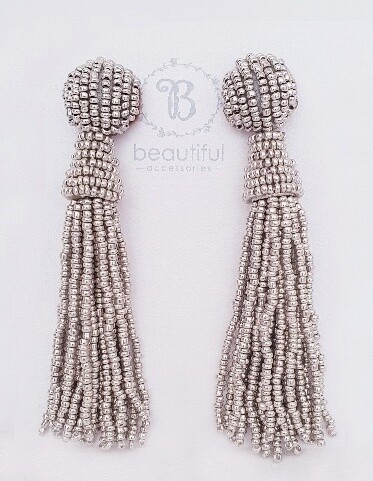 Tassel Bead Earrings Silver