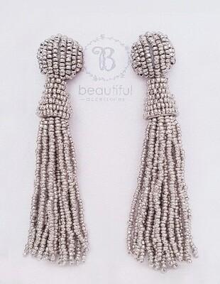 Tassel Bead Earrings Silver