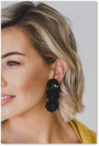 Sequin Flower Earrings Black