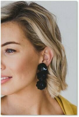 Sequin Flower Earrings Black