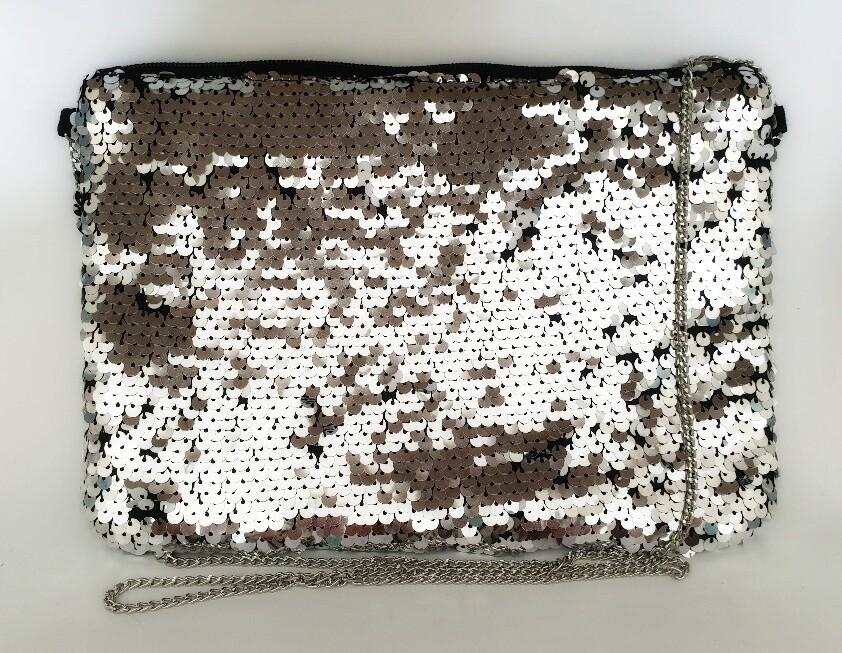 Embellished Evening Bag Silver Sequin