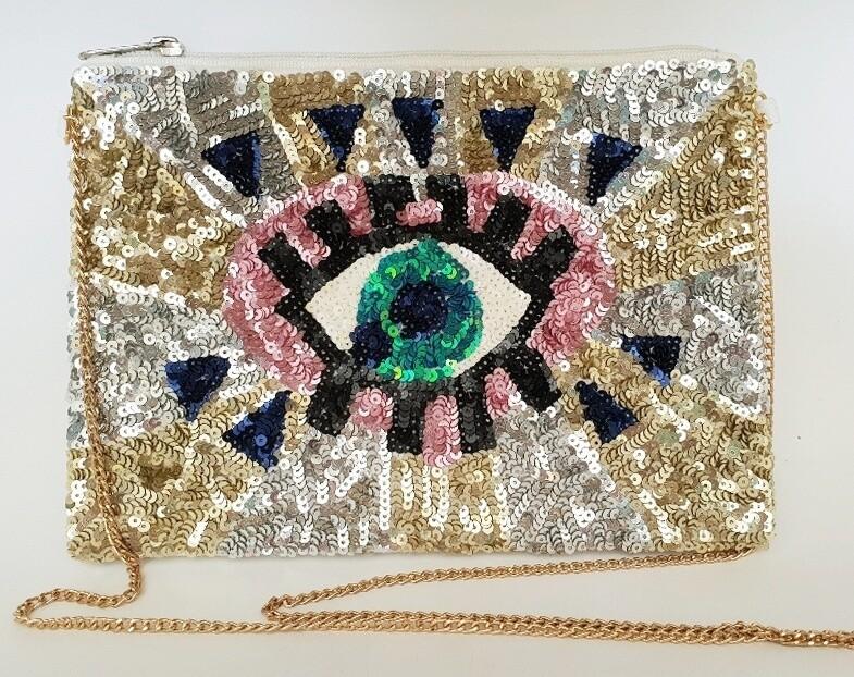 Embellished Evening Bag Eye Sequin