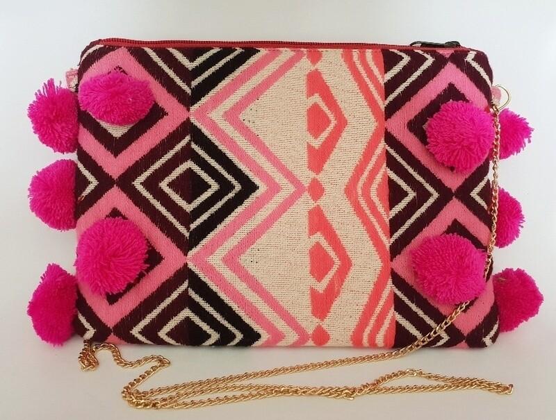 Embellished Evening Bag Pink Pom