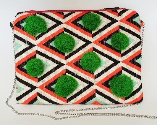 Embellished Evening Bag Orange Green