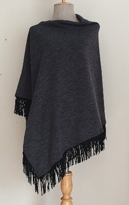 Suede Tassel Poncho - Charcoal