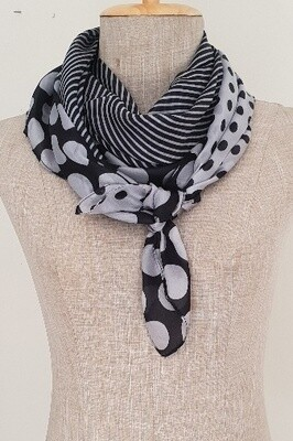 Silk Scarves - Black & grey spot