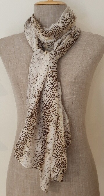 Silk Scarves - Animal Beige