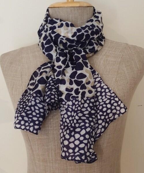 Silk Scarves - Animal Navy