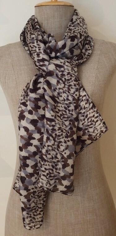 Silk Scarves - Animal Grey/Brown