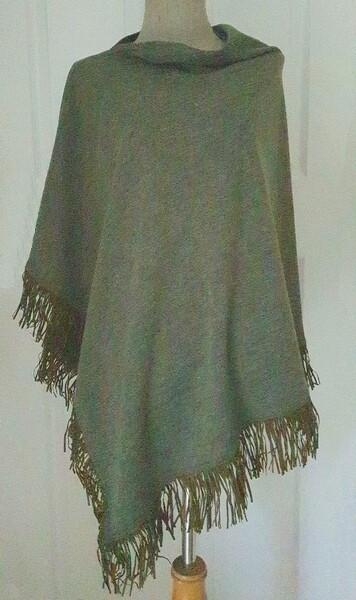 Suede Tassel Poncho - Olive