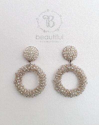 Beaded open circle (S) Earrings Silver