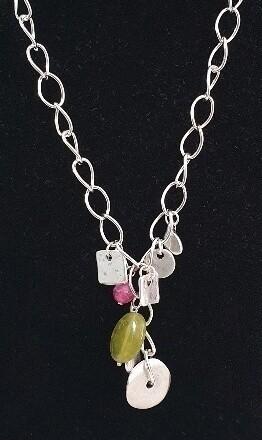 Beaten silver and semiprecious stone chain