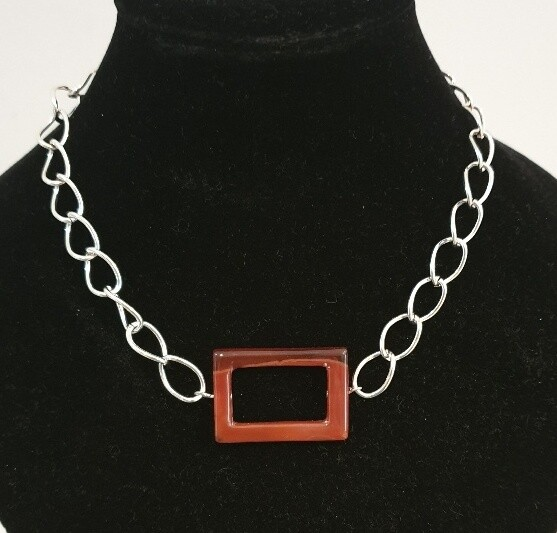 Carnelian feature stone on chain
