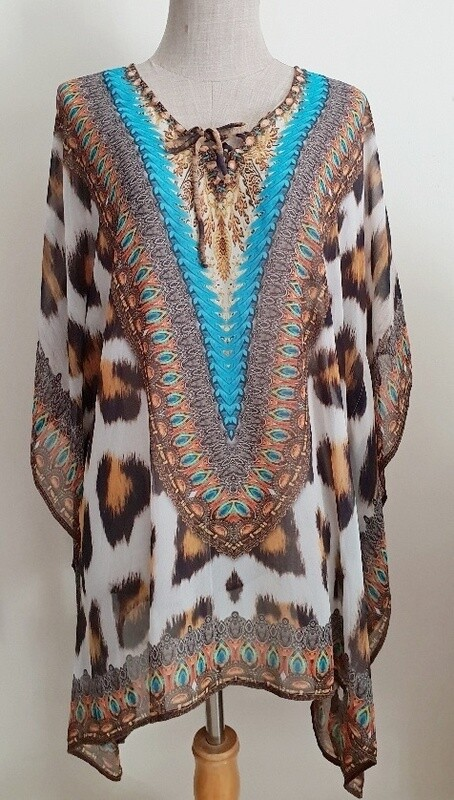 Kaftan Animal print turquoise top