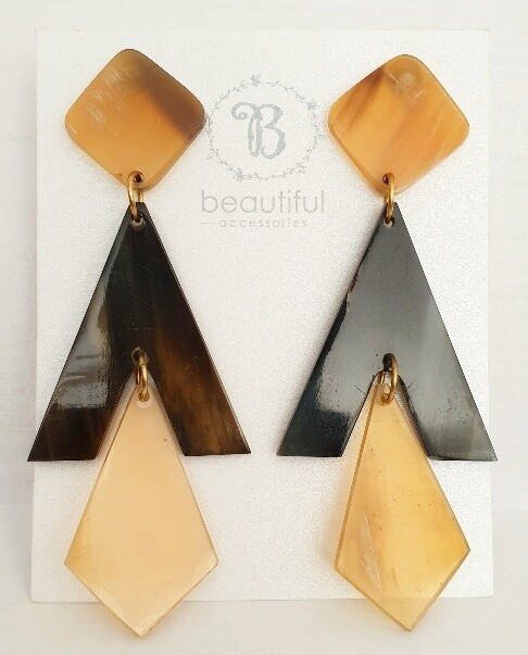 Neutral  Geometric Statement Earrings