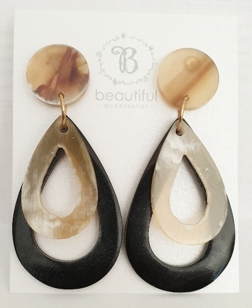 Neutral Teardrop Statement Earrings