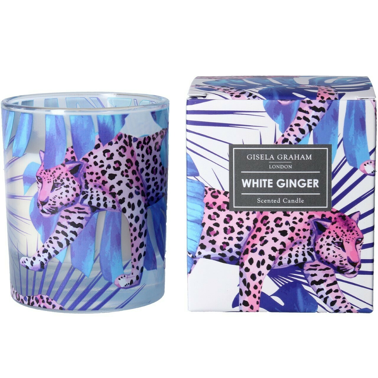Gisela Graham Leopard Design White Ginger Scented Candle (40 hours)