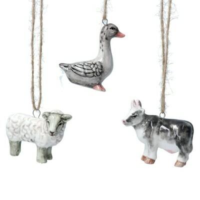 Gisela Graham Ceramic Sheep, Goose and Cow Decorations