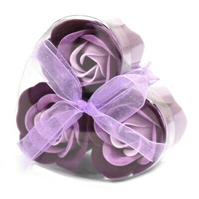 6 Luxury Soap Flower Roses - 3 Red and 3 Lavender