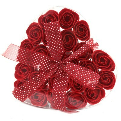 Luxury Soap Flower Hearts - 24 Red Roses