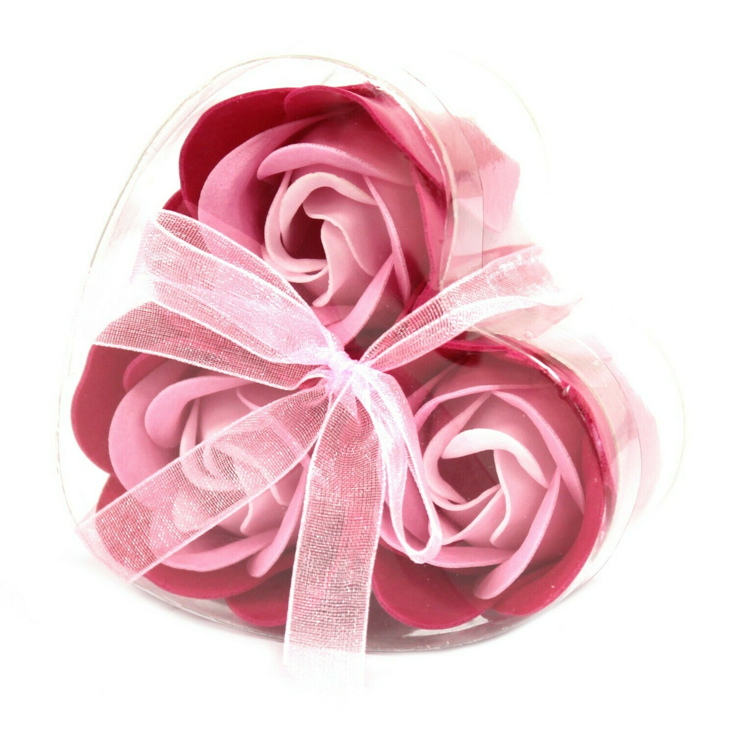 9 Luxury Soap Flower Roses - 3 Pink, 3 Red and 3 Peach. 
