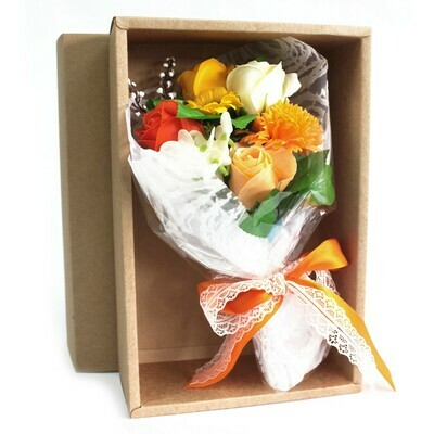 Boxed Hand Soap Flower Posy - Orange Flowers