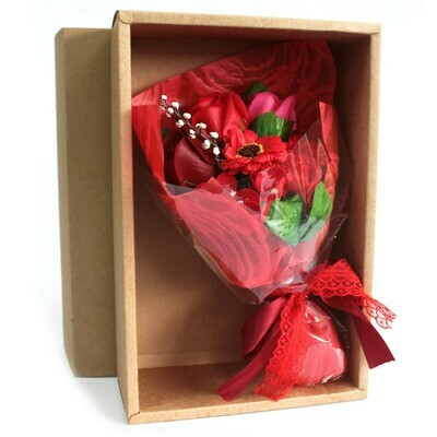 Boxed Hand Soap Flower Posy - Red Flowers